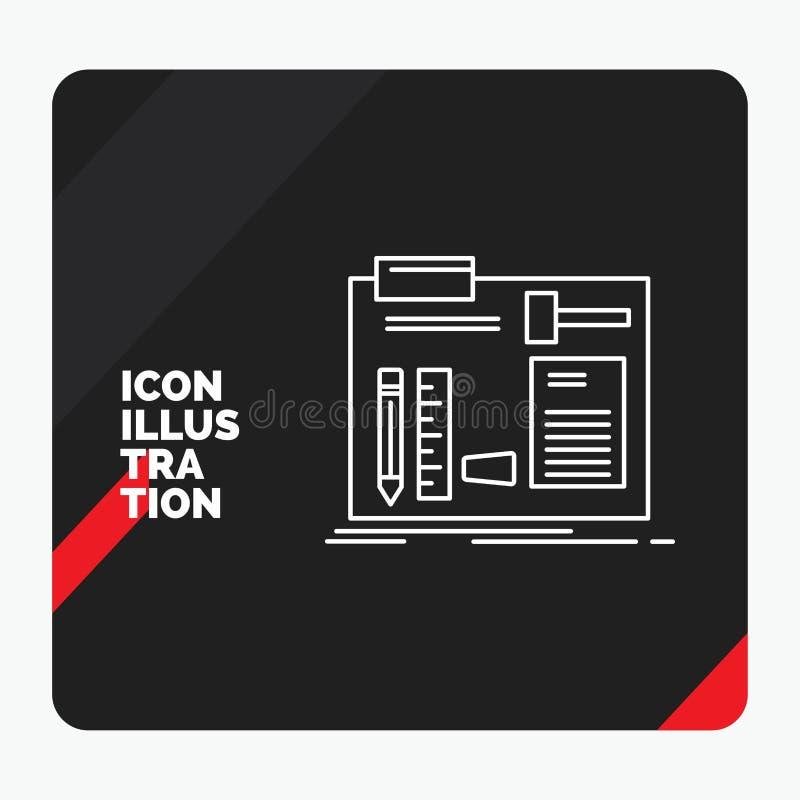 Κόκκινο και μαύρο δημιουργικό υπόβαθρο παρουσίασης για την κατασκευή, κατασκεύασμα, diy, μηχανικός, εικονίδιο γραμμών εργαστηρίων απεικόνιση αποθεμάτων