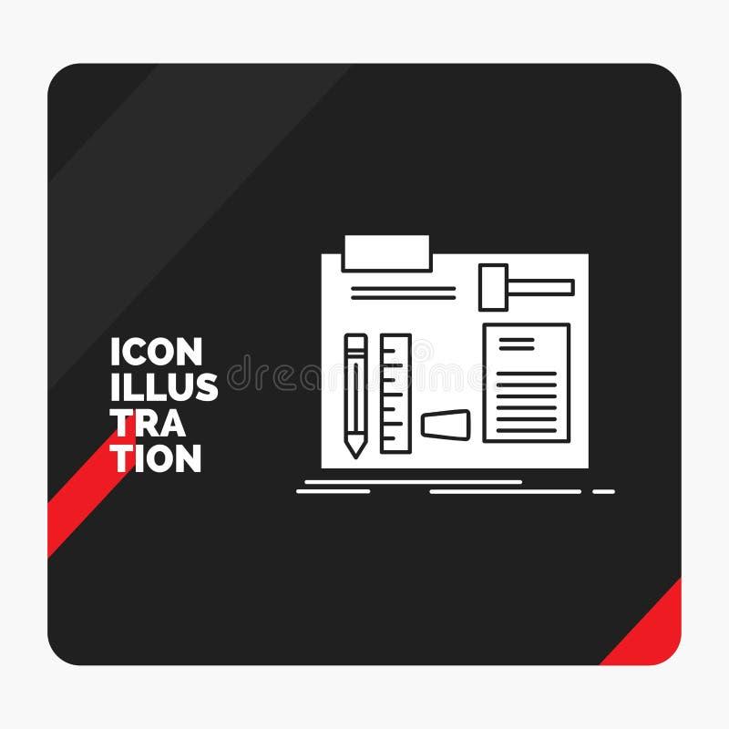 Κόκκινο και μαύρο δημιουργικό υπόβαθρο παρουσίασης για την κατασκευή, κατασκεύασμα, diy, μηχανικός, εικονίδιο Glyph εργαστηρίων διανυσματική απεικόνιση