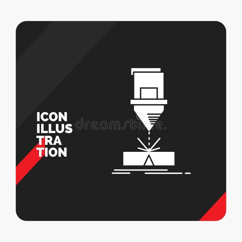 Κόκκινο και μαύρο δημιουργικό υπόβαθρο παρουσίασης για την κοπή, εφαρμοσμένη μηχανική, επεξεργασία, λέιζερ, εικονίδιο Glyph χάλυβ διανυσματική απεικόνιση