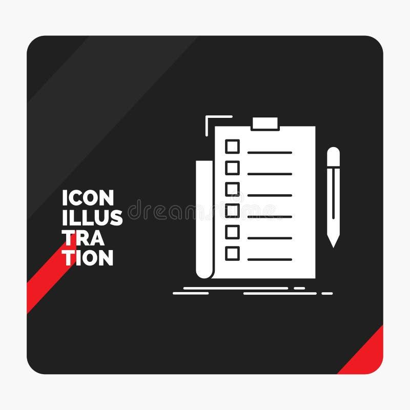 Κόκκινο και μαύρο δημιουργικό υπόβαθρο παρουσίασης για την πείρα, πίνακας ελέγχου, έλεγχος, κατάλογος, έγγραφο εικονίδιο Glyph απεικόνιση αποθεμάτων
