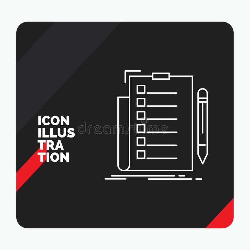 Κόκκινο και μαύρο δημιουργικό υπόβαθρο παρουσίασης για την πείρα, πίνακας ελέγχου, έλεγχος, κατάλογος, εικονίδιο γραμμών εγγράφων διανυσματική απεικόνιση