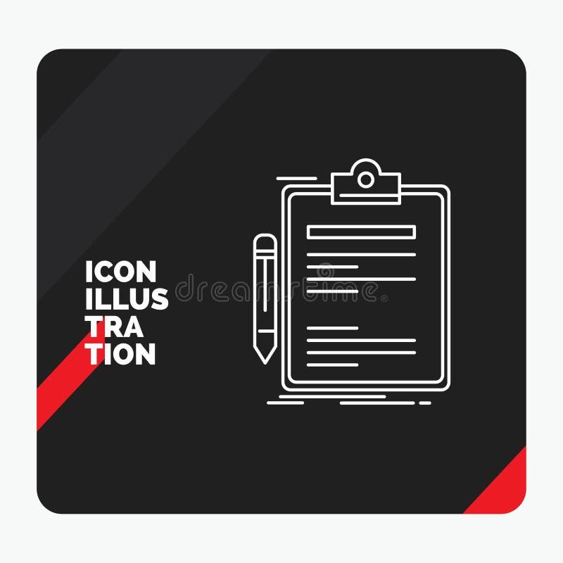Κόκκινο και μαύρο δημιουργικό υπόβαθρο παρουσίασης για τη σύμβαση, έλεγχος, επιχείρηση, που γίνεται, εικονίδιο γραμμών πινάκων συ διανυσματική απεικόνιση