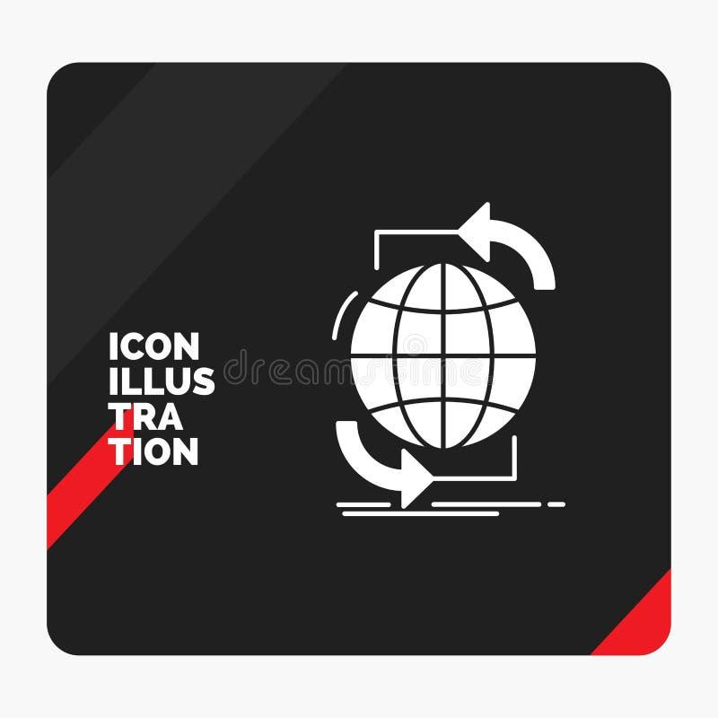 Κόκκινο και μαύρο δημιουργικό υπόβαθρο παρουσίασης για τη συνδετικότητα, σφαιρική, Διαδίκτυο, δίκτυο, εικονίδιο Glyph Ιστού διανυσματική απεικόνιση