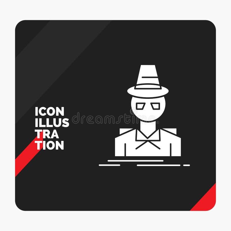 Κόκκινο και μαύρο δημιουργικό υπόβαθρο παρουσίασης για τον ιδιωτικό αστυνομικό, χάκερ, ινκόγκνιτο, κατάσκοπος, εικονίδιο Glyph κλ διανυσματική απεικόνιση
