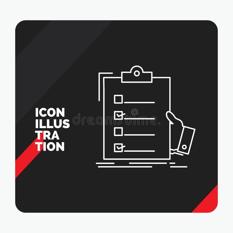 Κόκκινο και μαύρο δημιουργικό υπόβαθρο παρουσίασης για τον πίνακα ελέγχου, έλεγχος, πείρα, κατάλογος, εικονίδιο γραμμών περιοχών  διανυσματική απεικόνιση