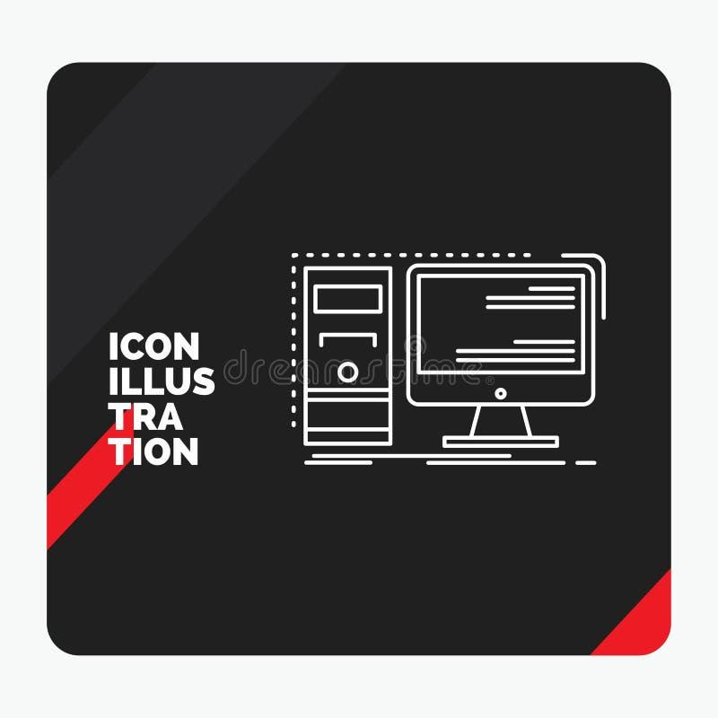 Κόκκινο και μαύρο δημιουργικό υπόβαθρο παρουσίασης για τον υπολογιστή, υπολογιστής γραφείου, υλικό, τερματικός σταθμός, εικονίδιο διανυσματική απεικόνιση