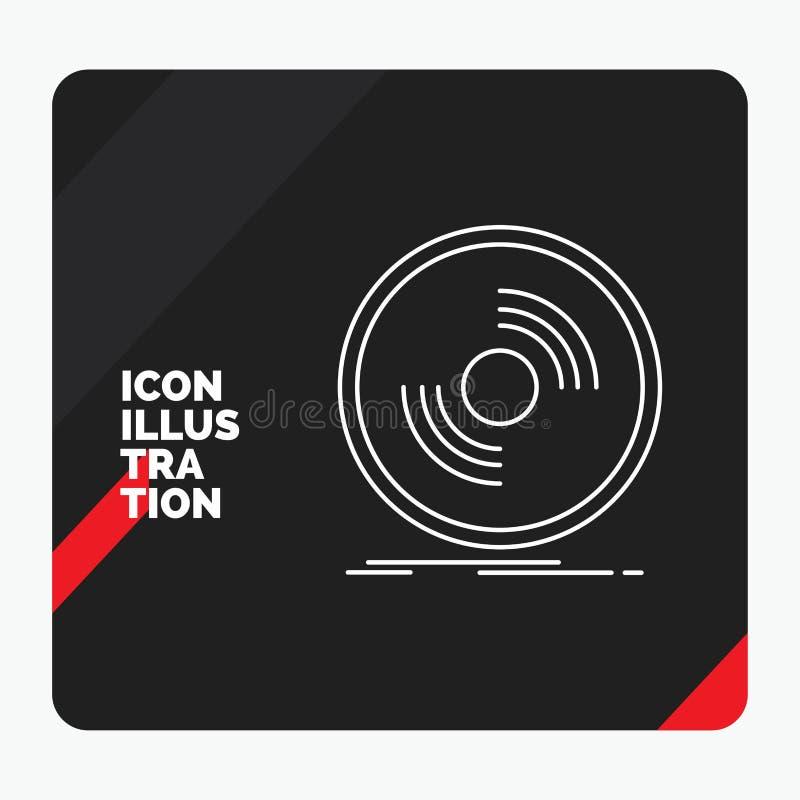 Κόκκινο και μαύρο δημιουργικό υπόβαθρο παρουσίασης για το δίσκο, DJ, φωνογράφος, αρχείο, βινυλίου εικονίδιο γραμμών ελεύθερη απεικόνιση δικαιώματος