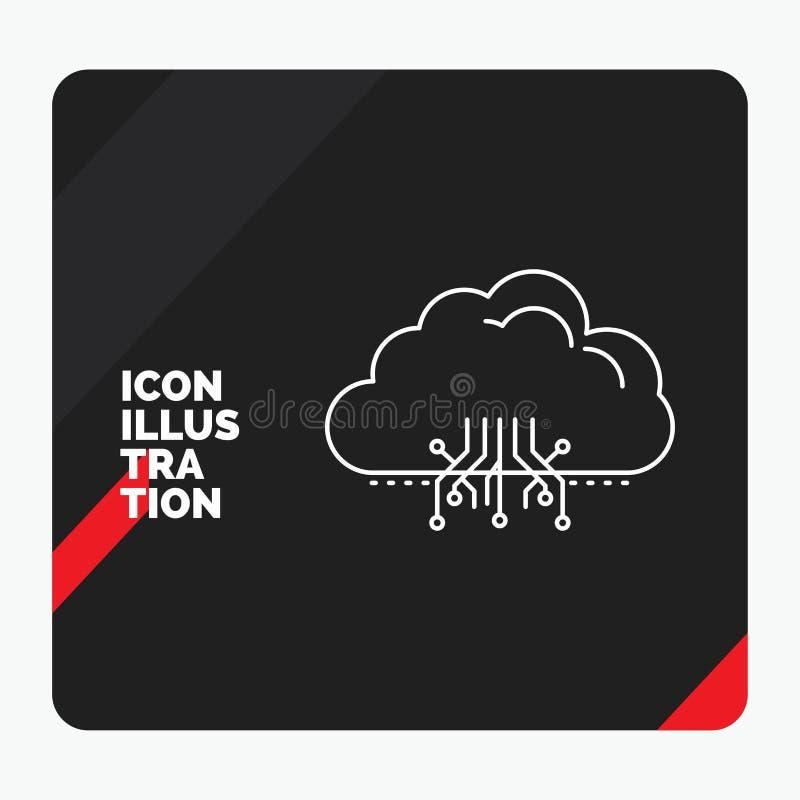 Κόκκινο και μαύρο δημιουργικό υπόβαθρο παρουσίασης για το σύννεφο, υπολογισμός, στοιχεία, φιλοξενία, εικονίδιο γραμμών δικτύων ελεύθερη απεικόνιση δικαιώματος