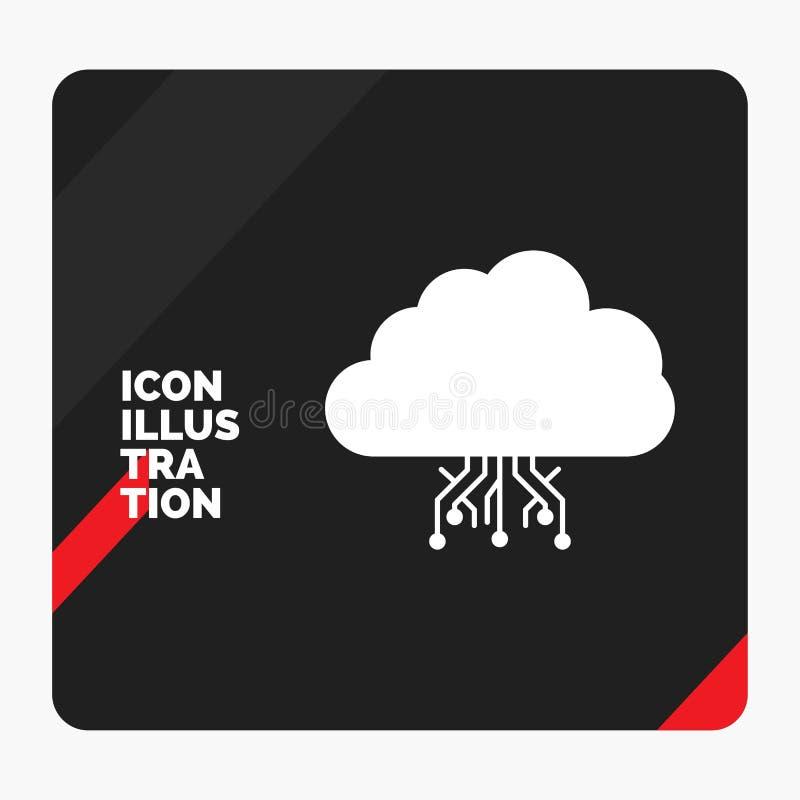 Κόκκινο και μαύρο δημιουργικό υπόβαθρο παρουσίασης για το σύννεφο, υπολογισμός, στοιχεία, φιλοξενία, εικονίδιο Glyph δικτύων διανυσματική απεικόνιση