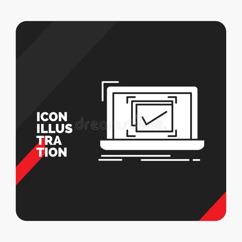 Κόκκινο και μαύρο δημιουργικό υπόβαθρο παρουσίασης για το σύστημα, έλεγχος, πίνακας ελέγχου, καλό, ΕΝΤΑΞΕΙ εικονίδιο Glyph απεικόνιση αποθεμάτων