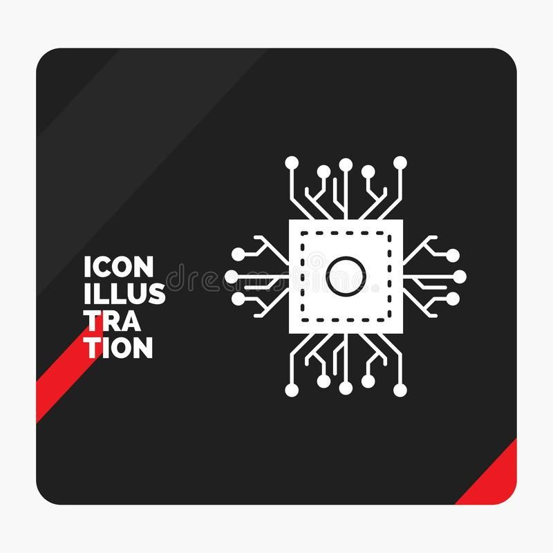 Κόκκινο και μαύρο δημιουργικό υπόβαθρο παρουσίασης για το τσιπ, ΚΜΕ, μικροτσίπ, επεξεργαστής, εικονίδιο Glyph τεχνολογίας απεικόνιση αποθεμάτων