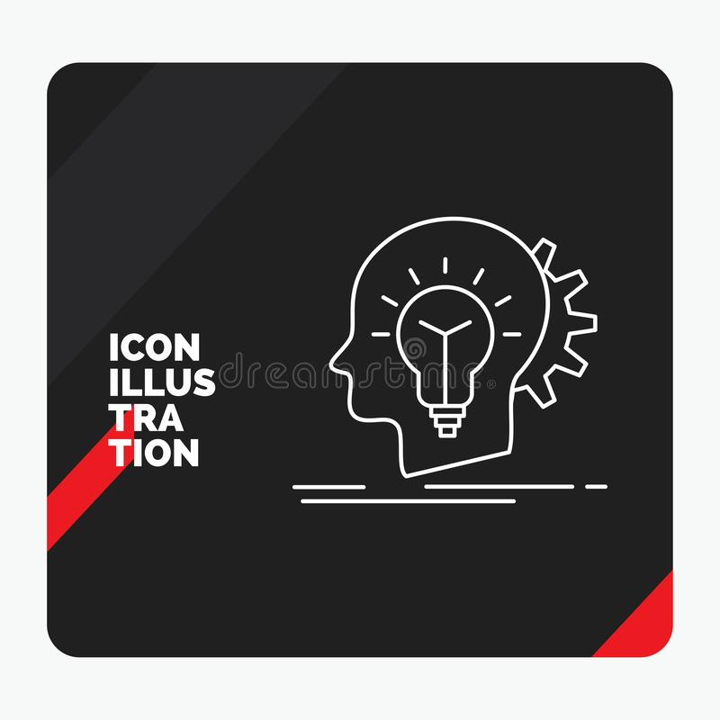 Κόκκινο και μαύρο δημιουργικό υπόβαθρο παρουσίασης για δημιουργικό, δημιουργικότητα, κεφάλι, ιδέα, εικονίδιο γραμμών σκέψης απεικόνιση αποθεμάτων