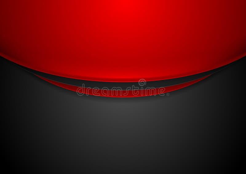 Κόκκινο και μαύρο κυματιστό εταιρικό υπόβαθρο αντίθεσης διανυσματική απεικόνιση