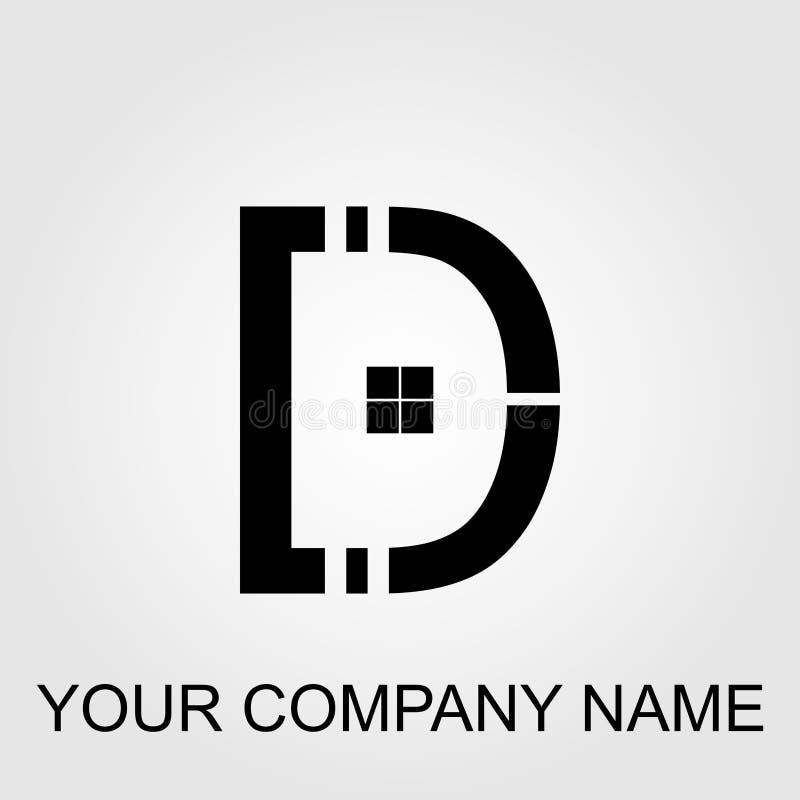 Κόκκινο και μαύρο σπιτιών και επιχείρησης γράμμα Δ σχεδίου λογότυπων διανυσματικό καθορισμένο διανυσματική απεικόνιση