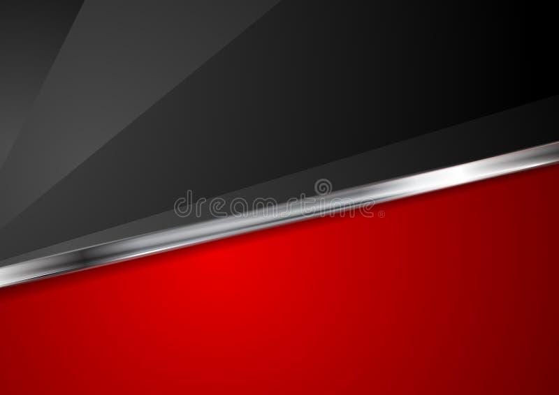 Κόκκινο και μαύρο υπόβαθρο αντίθεσης με το μεταλλικό λωρίδα ελεύθερη απεικόνιση δικαιώματος