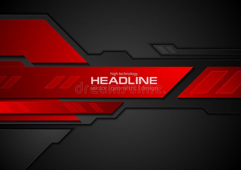 Κόκκινο και μαύρο υπόβαθρο τεχνολογίας αντίθεσης αφηρημένο διανυσματική απεικόνιση