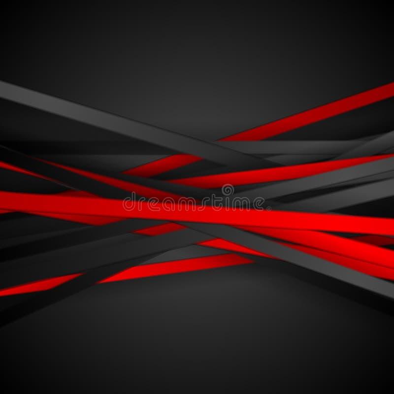 Κόκκινο και μαύρο υπόβαθρο λωρίδων αντίθεσης τεχνολογίας διανυσματική απεικόνιση