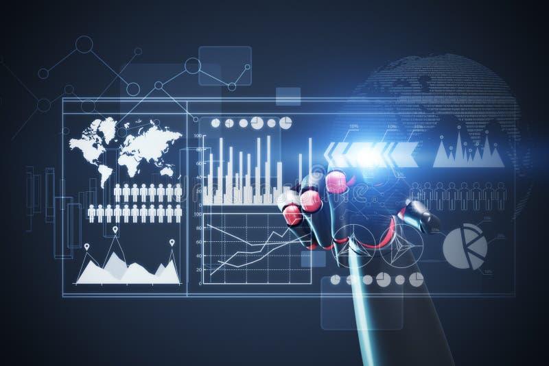 Κόκκινο και μαύρο χέρι ρομπότ, γραφικές παραστάσεις που τονίζονται ελεύθερη απεικόνιση δικαιώματος