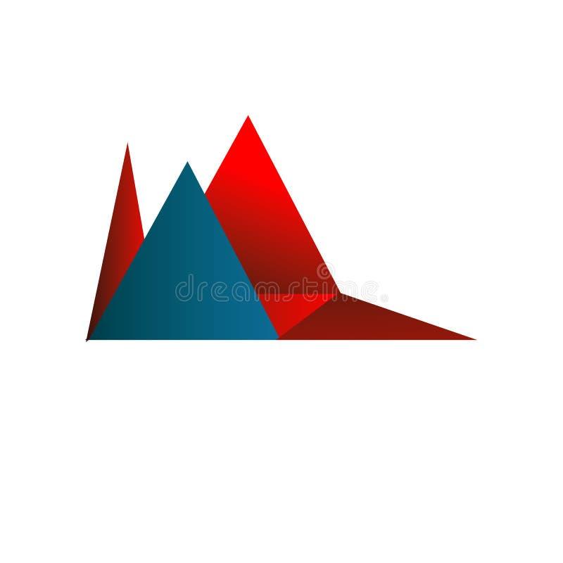 Κόκκινο και μπλε απομονωμένο έμβλημα υπόβαθρο λογότυπων τριγώνων αφηρημένο απεικόνιση αποθεμάτων