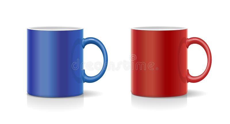Κόκκινο και μπλε διάνυσμα κουπών καφέ απεικόνιση αποθεμάτων