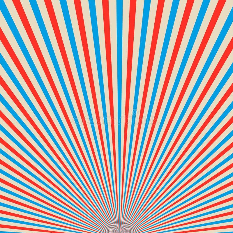 Κόκκινο και μπλε υπόβαθρο ηλιαχτίδων επίσης corel σύρετε το διάνυσμα απεικόνισης ελεύθερη απεικόνιση δικαιώματος