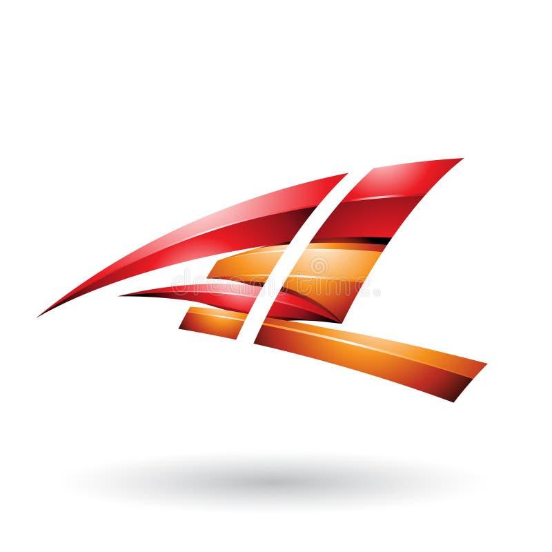 Κόκκινο και πορτοκαλί δυναμικό στιλπνό πετώντας γράμμα Α και Λ που απομονώνονται σε ένα άσπρο υπόβαθρο απεικόνιση αποθεμάτων