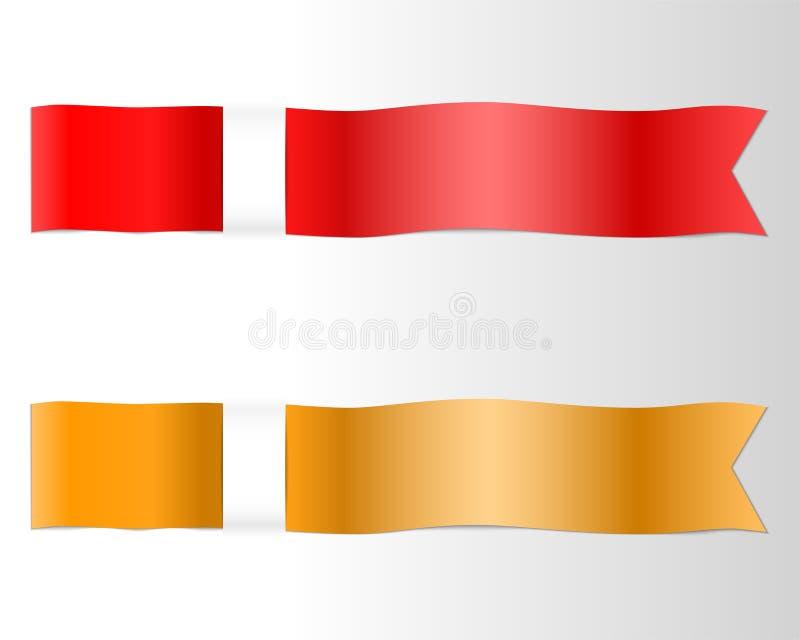 Κόκκινο και χρυσό ένθετο κορδελλών στο πλαίσιο του εγγράφου απεικόνιση αποθεμάτων