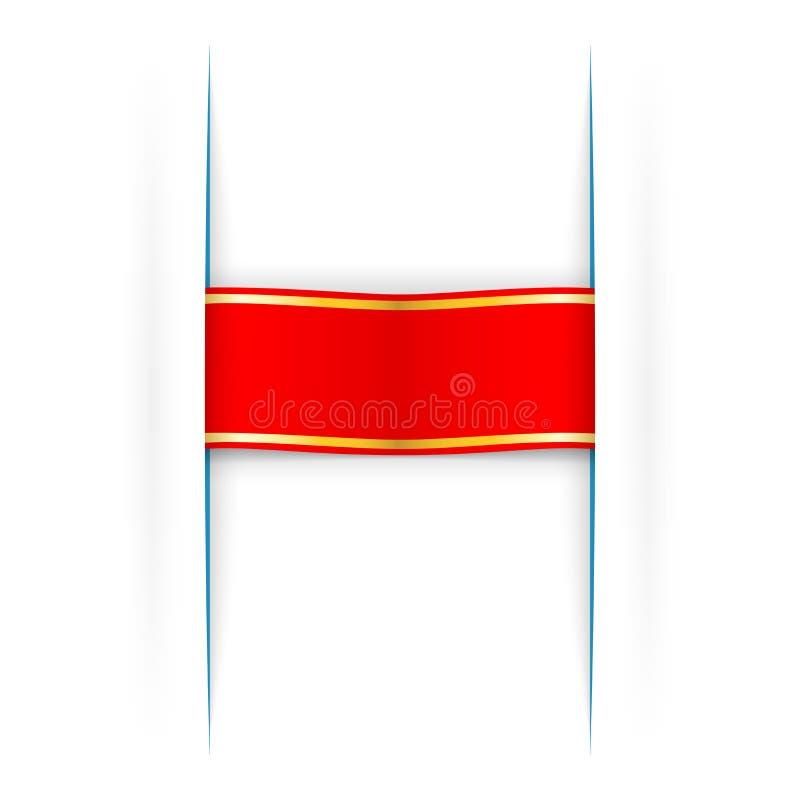 Κόκκινο και χρυσό ένθετο λουρίδων κάτω από το χάσμα εγγράφου ελεύθερη απεικόνιση δικαιώματος
