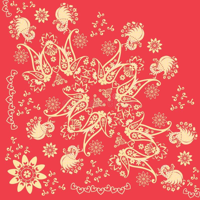 Κόκκινο και χρυσό διακοσμητικό τέταρτο khokhloma του σαλιού Ρωσικά, ινδικά κίνητρα Όμορφη διανυσματική απεικόνιση με τα αφηρημένα διανυσματική απεικόνιση