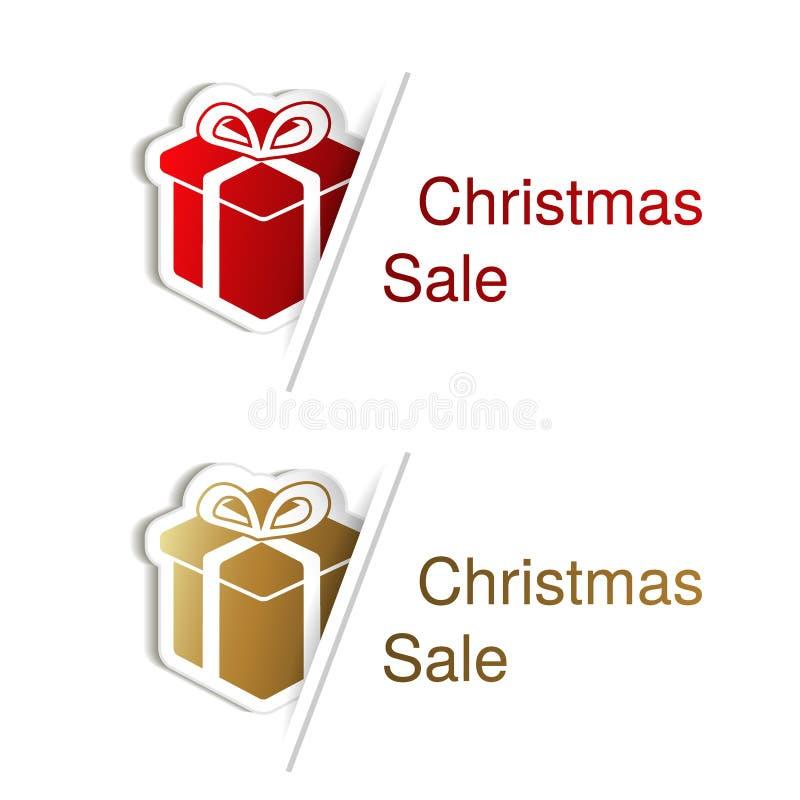 Κόκκινο και χρυσό δώρο Χριστουγέννων με την ετικέτα για τη διαφήμιση του κειμένου στο άσπρο υπόβαθρο, αυτοκόλλητες ετικέττες με τ διανυσματική απεικόνιση