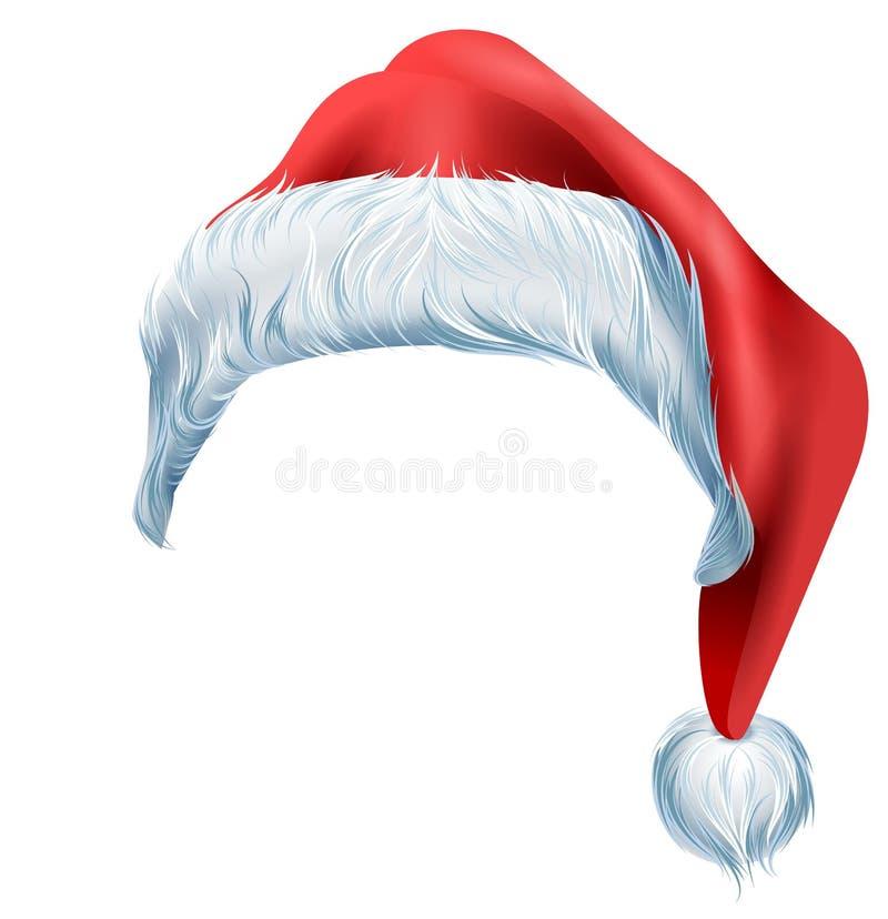 Κόκκινο καπέλο Santa με τη χνουδωτή δασύτριχη γούνα ακρών Παραδοσιακό εξάρτημα Χριστουγέννων ελεύθερη απεικόνιση δικαιώματος