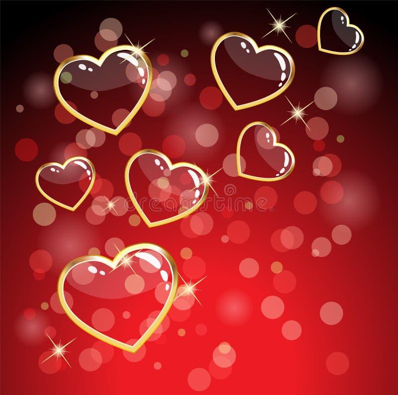κόκκινο καρδιών ανασκόπησ& απεικόνιση αποθεμάτων