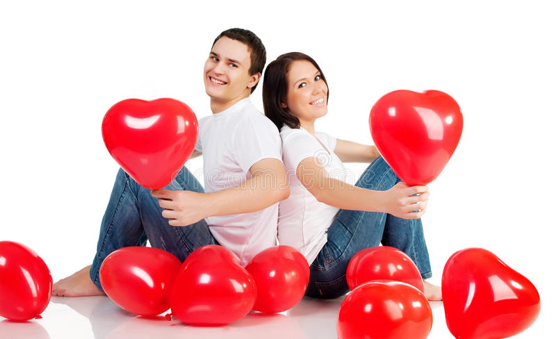 κόκκινο καρδιών ζευγών στοκ εικόνα με δικαίωμα ελεύθερης χρήσης