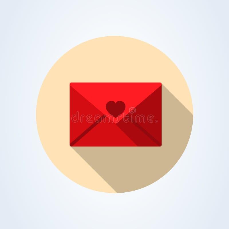 Εικονίδιο ταχυδρομείου Κόκκινο καρδιών σημαδιών φακέλων r Διαφανές υπόβαθρο απεικόνιση αποθεμάτων