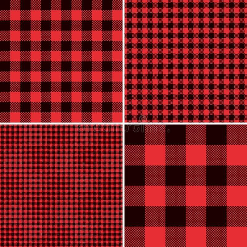 Κόκκινο καρό ελέγχου Buffalo υλοτόμων και τετραγωνικά Gingham εικονοκυττάρου σχέδια διανυσματική απεικόνιση