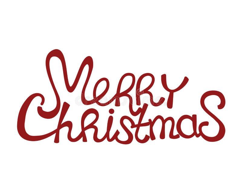 Κόκκινο κείμενο Χαρούμενα Χριστούγεννας απεικόνιση αποθεμάτων