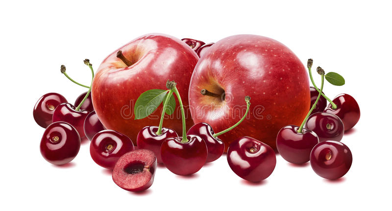Κόκκινο κεράσι μήλων που απομονώνεται στο άσπρο υπόβαθρο στοκ φωτογραφία με δικαίωμα ελεύθερης χρήσης