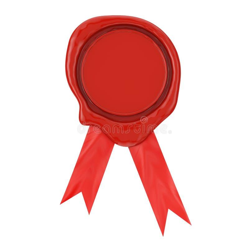 Κόκκινο κερί ή Signet σφραγίδων με την κορδέλλα τρισδιάστατη απόδοση απεικόνιση αποθεμάτων