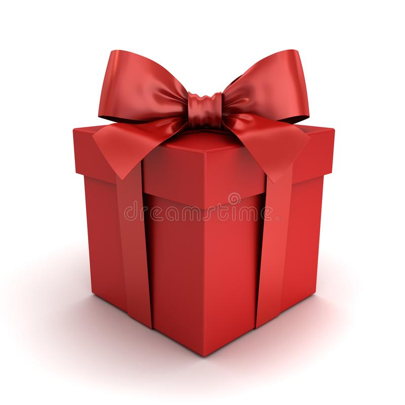 Κόκκινο κιβώτιο δώρων ή κόκκινο παρόν κιβώτιο με το κόκκινο τόξο κορδελλών που απομονώνεται στο άσπρο υπόβαθρο με τη σκιά και την ελεύθερη απεικόνιση δικαιώματος
