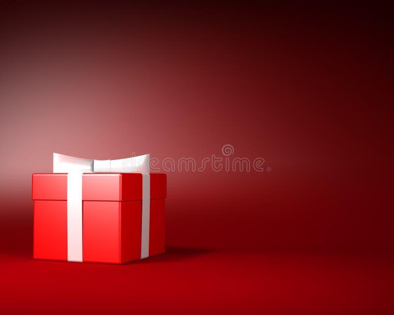 Κόκκινο κιβώτιο δώρων με την άσπρη κορδέλλα και τόξο στο κόκκινο υπόβαθρο διανυσματική απεικόνιση