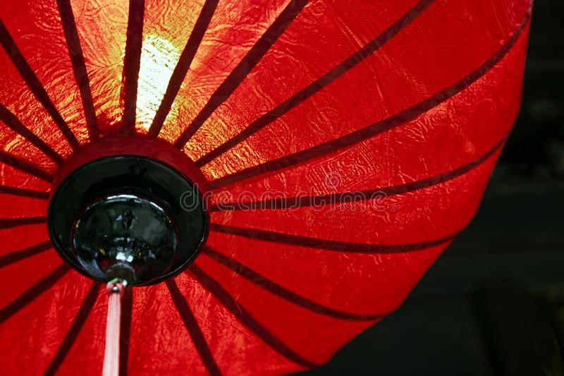 Κόκκινο κινεζικό φανάρι, άποψη από κάτω από στοκ εικόνα με δικαίωμα ελεύθερης χρήσης