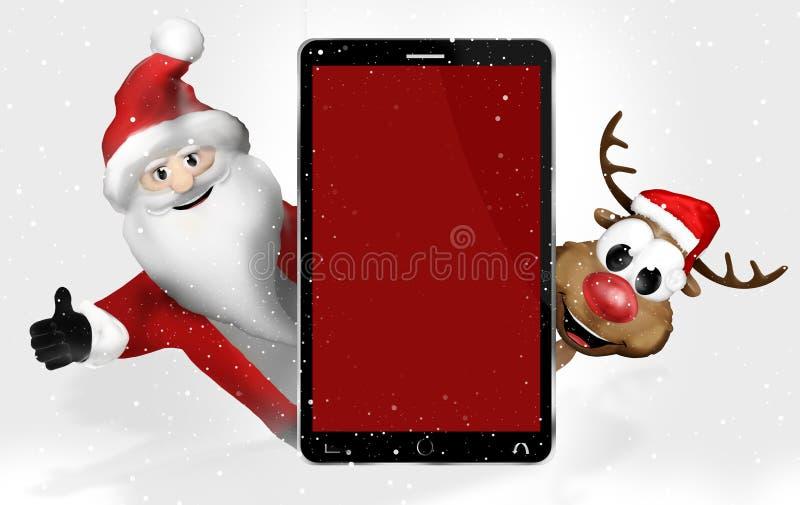 Κόκκινο κινητό τηλέφωνο Χριστουγέννων ελεύθερη απεικόνιση δικαιώματος