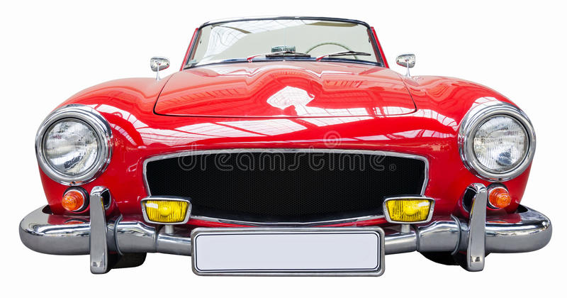 Κόκκινο κλασικό αναδρομικό αυτοκίνητο από απομονωμένος στο άσπρο υπόβαθρο στοκ εικόνα