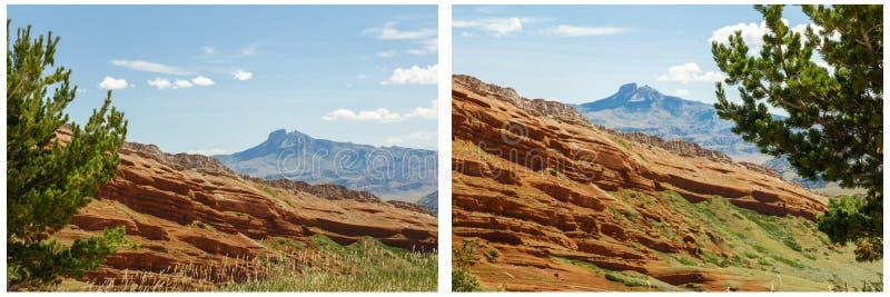 Κόκκινο κολάζ βουνών καρδιών σχηματισμού βράχων στοκ εικόνες με δικαίωμα ελεύθερης χρήσης