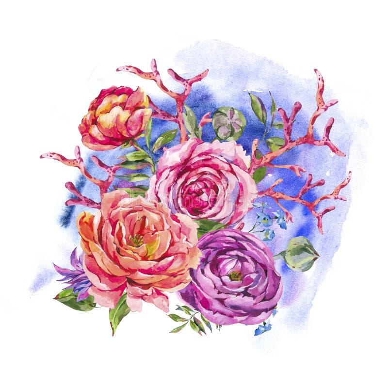 Κόκκινο κοράλλι, εκλεκτής ποιότητας Floral ευχετήρια κάρτα Watercolor τριαντάφυλλων, ανθοδέσμη Watercolor των τριαντάφυλλων και W ελεύθερη απεικόνιση δικαιώματος