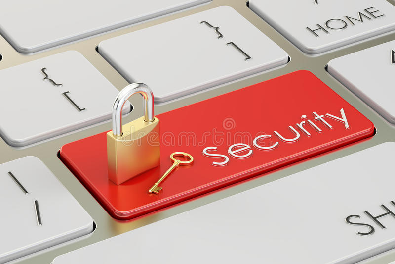 Κόκκινο κουμπί ασφάλειας στο πληκτρολόγιο, τρισδιάστατο απεικόνιση αποθεμάτων