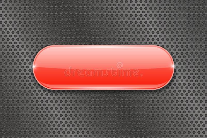 Κόκκινο κουμπί γυαλιού διατρυπημένο στο μέταλλο υπόβαθρο απεικόνιση αποθεμάτων