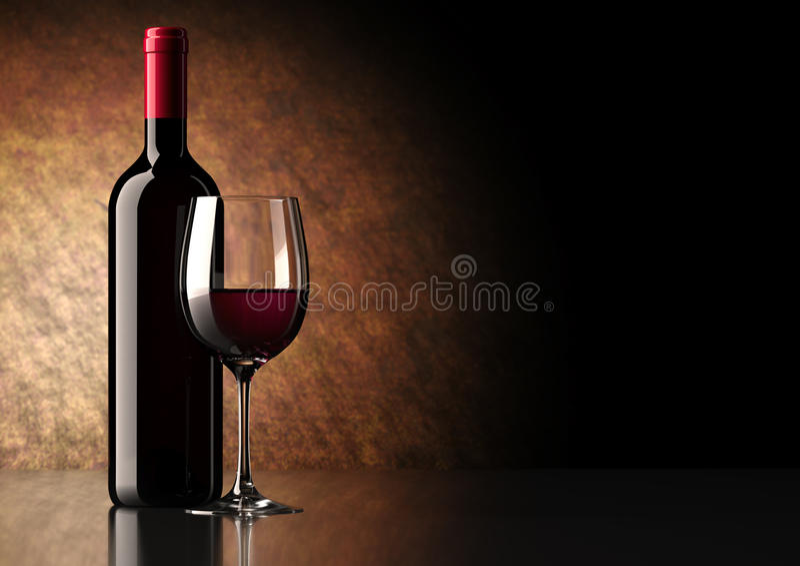 κόκκινο κρασί γυαλιού μπουκαλιών στοκ φωτογραφία με δικαίωμα ελεύθερης χρήσης