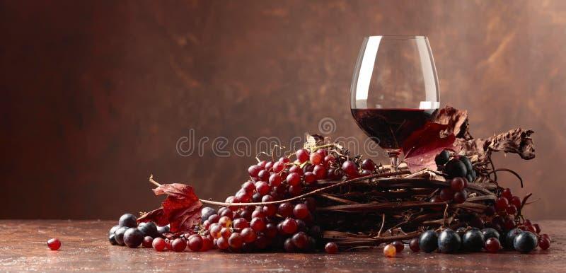 Κόκκινο κρασί και φρέσκα σταφύλια με τα στεγνωμένα φύλλα αμπέλων στοκ φωτογραφία με δικαίωμα ελεύθερης χρήσης
