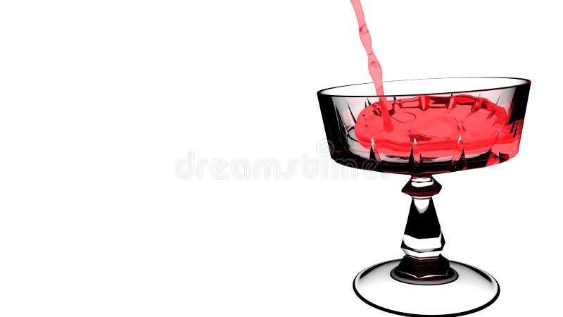 Κόκκινο κρασί που χύνεται στο άσπρο διαφανές γυαλί κρασιού απεικόνιση αποθεμάτων